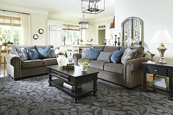 The Navasota Loveseat from Ashley Furniture HomeStore  AFHS com   The   Navasota Charcoal  upholstery collection features a soft chenille  upholstery. The Navasota Loveseat from Ashley Furniture HomeStore  AFHS com