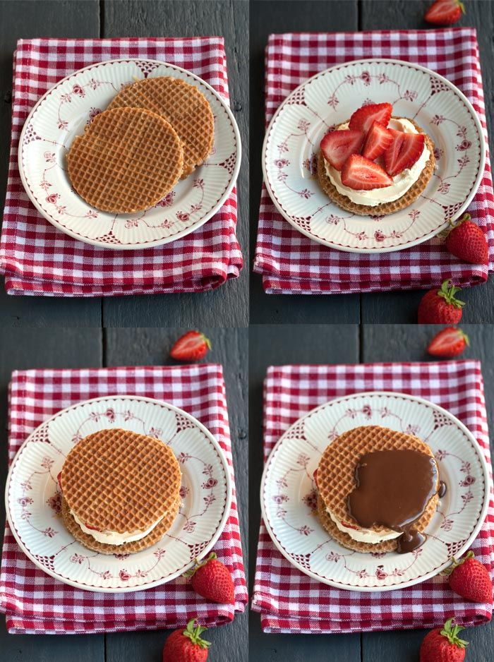 stroopwafel sandwich with strawberries, mascarpone cheese and chocolate