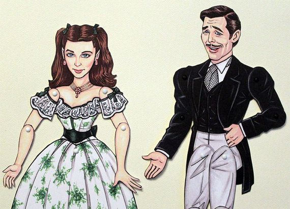Gone with the Wind Rhett Butler and Scarlett by ArdentlyCrafted, $19.00Dolls Pattern, Wind Paper, Paper Dolls, Rhett Butler, Wind Rhett, 1900, Articulation Paper, Clark Gable, Art Dolls