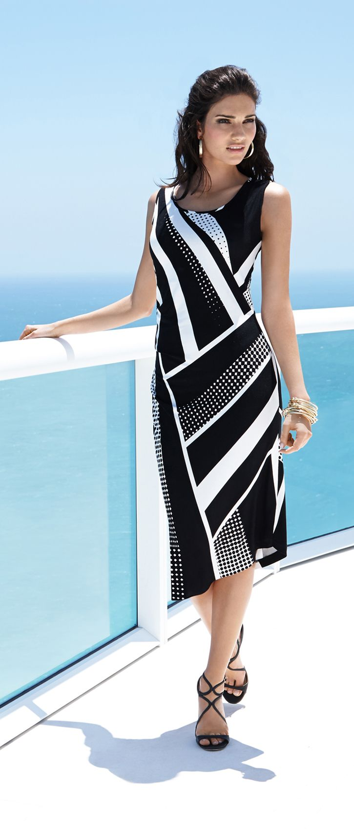 Black Label by Chico's Mixed Print Dress. New Angles: Stripe mixing done right.
