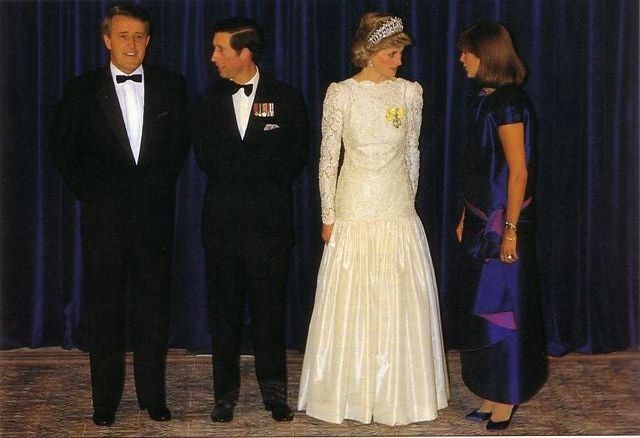 1986-05-01 Diana and Charles attend a State Dinner with the Premier of Canada, Brian Mulroney, and his wife Mila, at the Hyatt Regency Hotel in Vancouver, British Columbia