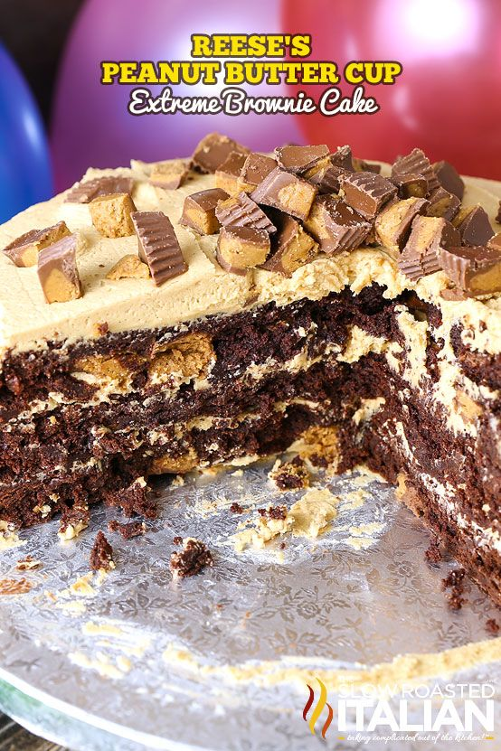 Reese's Peanut Butter Cup Extreme Brownie Cake starts with a simple brownie recipe that is fully loaded with peanut butter cups. Then, a peanut butter frosting that is second only to your grandma's peanut butter fudge is the only way to do those layers any justice. The rich and creamy peanut butter frosting will blow your mind. It is so good, I couldn't keep my hands off it. It is nearly addictive.