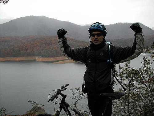 Biking at Tsali, North Carolina, in 20 degree weather - I've never been colder in my life.  Lake Fontana below and Smoky Mountains of Tennessee behind me.  This photo from 2001.