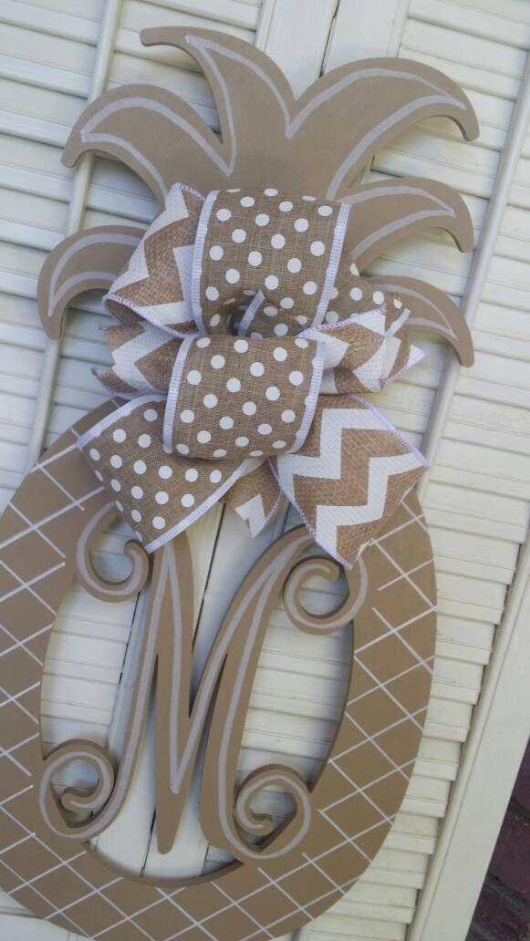 Pineapple Monogram Door Hanger Pineapple Spring Decor Tan Pineapple Welcome Fall Decor Pineapple Door Hanger Monogram Wedding Gift Beige by Underthekentuckysun on Etsy https://www.etsy.com/listing/451779640/pineapple-monogram-door-hanger-pineapple