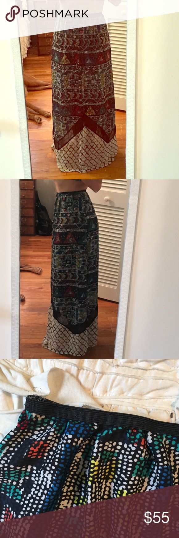 Urban Outfitters Tribal Maxi Skirt Handmade from a dress sewn into elastic band. So flowy and gorgeous Urban Outfitters Skirts Maxi