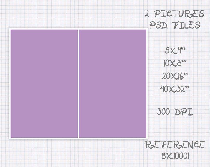 Foto Plantilla collage storyboard de 5x4 10x8 16x20 32x40 pulgadas landscape & portrait (2 fotos) ref 8x10001 de JuanmiDesigns en Etsy