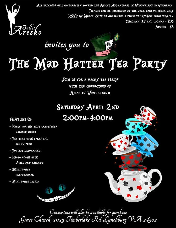 You're invited to The Mad Hatter Tea Party on April 2nd from 2-4 pm! Enjoy tea, cake, and sandwiches with characters from Alice in Wonderland, a photo booth, mini dance lessons, prizes for most creative costumes, and more! 21129 Timberlake Road in Lynchburg.