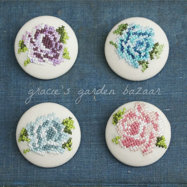 Four Stitched Rose Brooches by Gracie's Garden Bazaar, via Flickr  These would be pretty as buttons on CQ