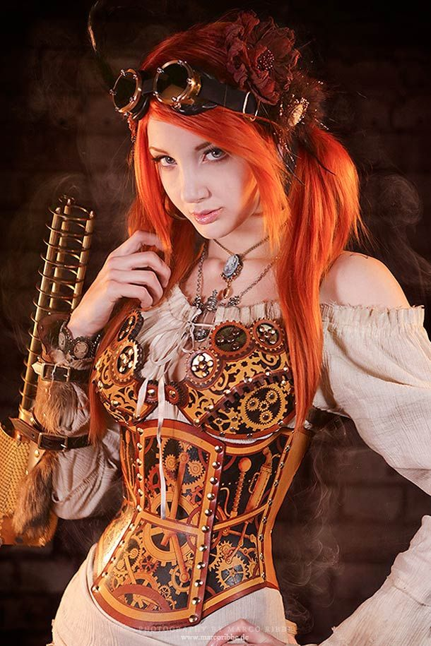 """Steampunk girl"" ~ Nice to see that steampunk is not just a noir look.  It's for the fairhaired, and lasses with fiery tresses as well."