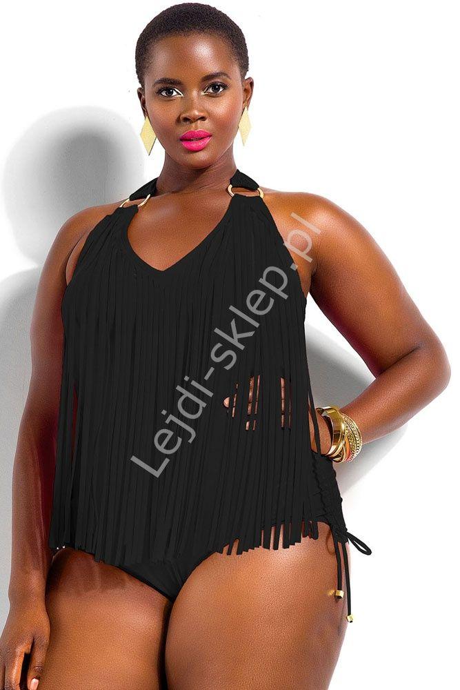 Wyszczuplający strój kąpielowy dla puszystych| Fatkini, strój kapielowy jednoczęściowy z frędzelkami Plus Size