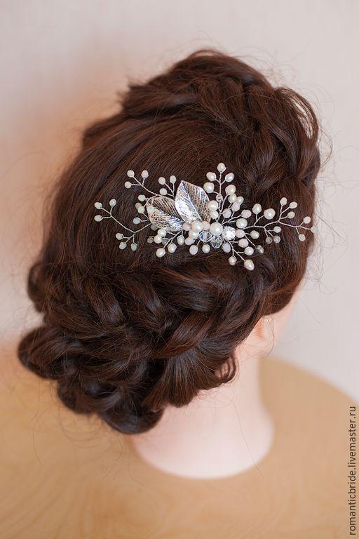 """Купить Свадебный гребень """"Вешний сад"""" - серебряный, жемчужный, гребень, гребень для волос, гребешок"""