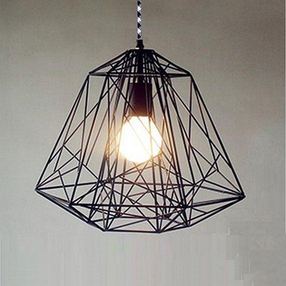 lightcookie-Handmade Pendant Light Chandelier Edison Restoration Industrial style cage diamond