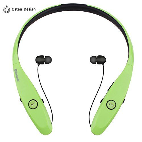 Special Offers - Bluetooth Headphone Osten Design Wireless Headset with Mic Stereo Neckband Noise Cancelling Headset Hand-free Sports Earphone Retractable Earbuds for Iphone and Other Bluetooth Devices (900S Green) - In stock & Free Shipping. You can save more money! Check It (May 04 2016 at 01:51PM)…