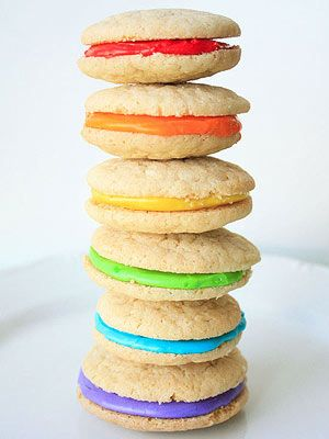 Rainbow cookie sandwiches. make with mal's sugar cookies- so good, so good