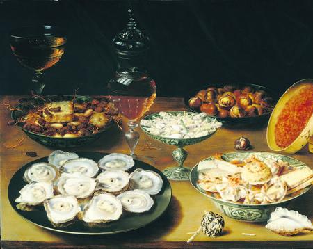 als je goed kijkt, ziet ook een gebroken glas op de rijk gedekte tafel. Foto Mauritshuis Een smakelijk stilleven met oesters, wijn en lekkernijen van de Antwerpenaar Osias Beert, die mogelijk de leermeester van Clara Peeters is geweest. Foto National Gallery of Art Washington