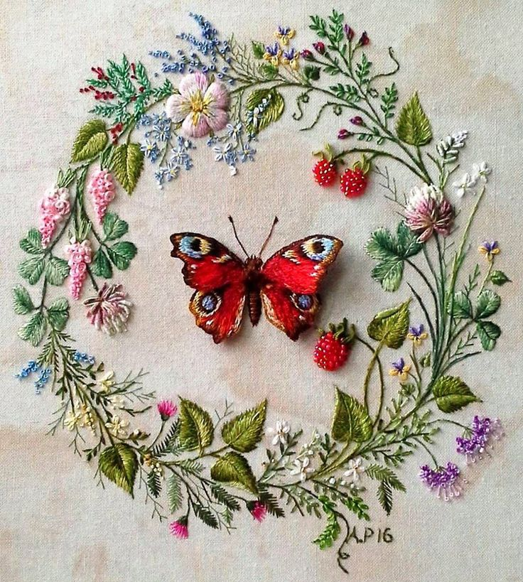 This stumpwork piece is by Andreeva P.  This garland represents late spring with a lovely stumpwork butterfly and some luscious bead embroidered berries.  Check out more of Andreeva's work on her website at http://www.roniy-stitch.com/