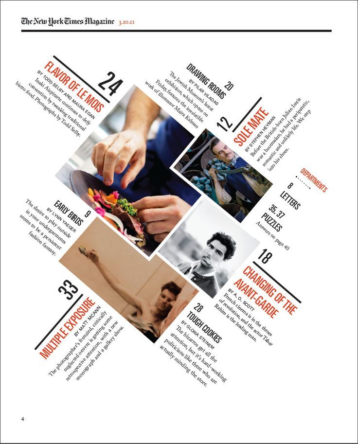 A redesigned New York Times Magazine Table of contents, made as a school project, Hallie Bean: