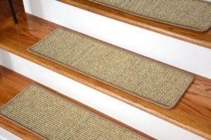 Dean Attachable Non-Skid Sisal Carpet Stair Treads - Desert - Set of 13 transitional-rugs