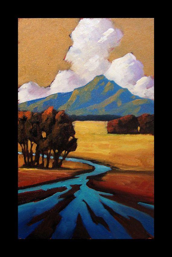 Landscape Art Painting Impressionism Mountain Tonalist Sky Trees Modern Arts & Crafts Hawkins Oil Original