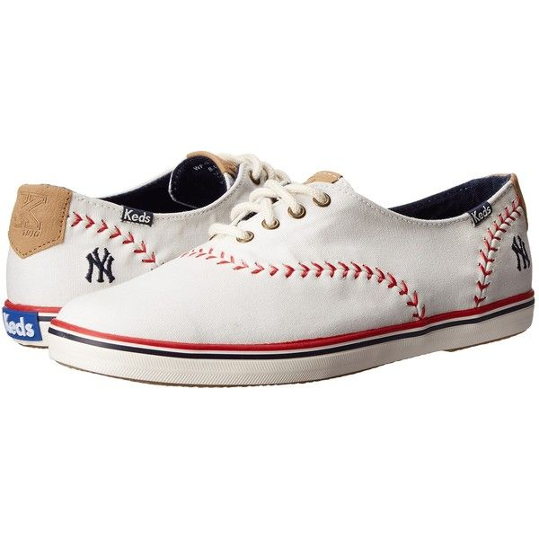 Keds Champion MLB Pennant - Yankees (White Canvas) Women's Lace up... ($36) ❤ liked on Polyvore featuring shoes, white, canvas lace up shoes, laced up shoes, white shoes, white lace up shoes and long shoes