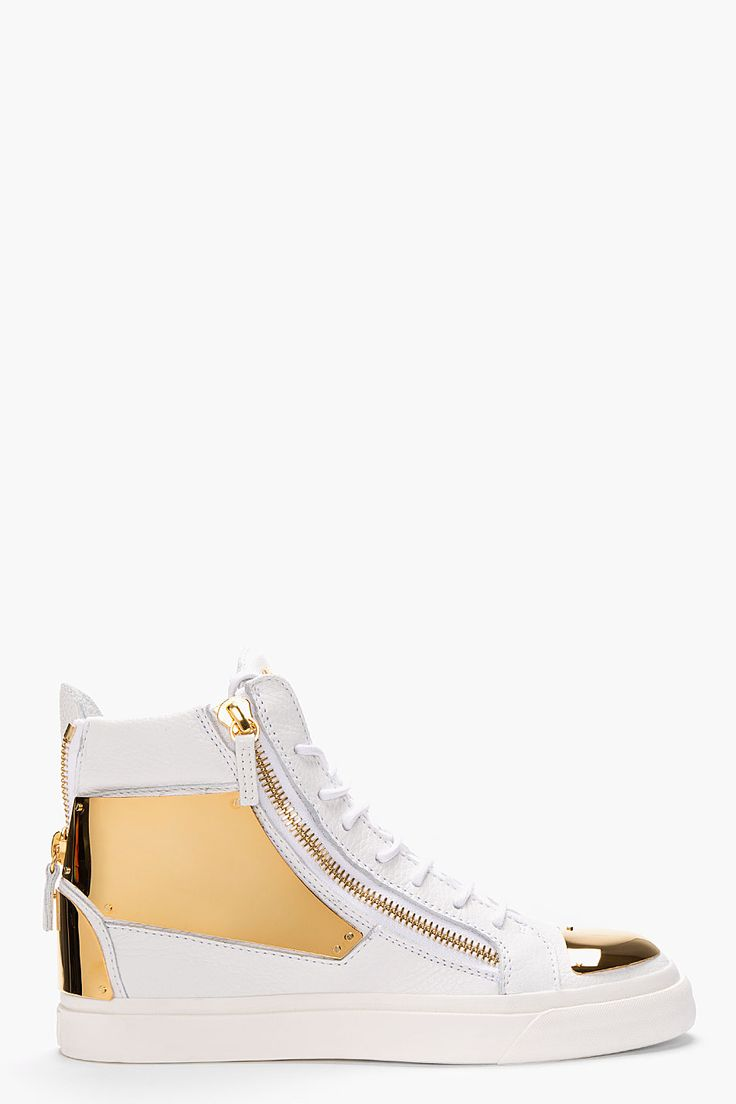 Giuseppe Zanotti White Leather Gold-plated High-top Sneakers for men | SSENSE