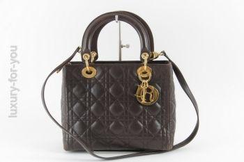 Christian Dior *Lady Dior* aus Lammleder in Braun