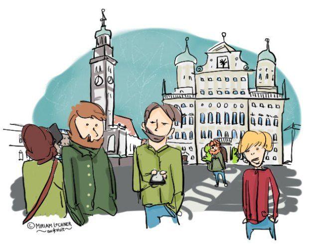 Der Rathausplatz: Beliebter Dating-Treffpunkt // Wo trifft man sich am besten fürs erste Date? // Dating-Fragen & Dating-Regeln // analysiert, beschrieben und gezeichnet von Miriam Lochner für auxkvisit im Rahmen der Augsburger Blogparade #auxxbloggt