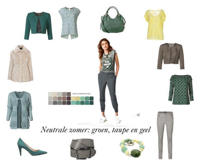 """Neutrale zomer/ soft summer. Groen, taupe en geel."" by roorda on Polyvore featuring mode en American Vintage"