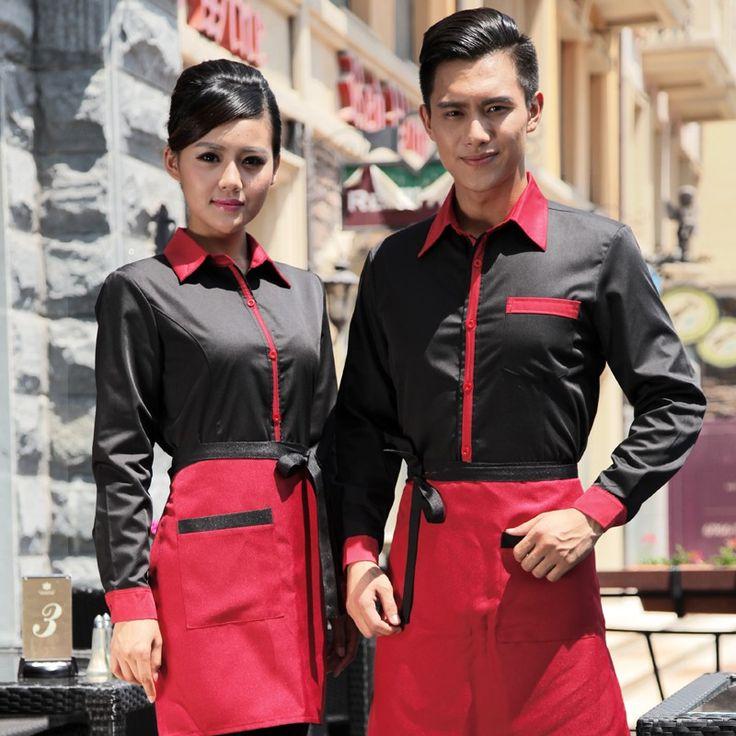 long sleeve waiter waitress blouse + apron