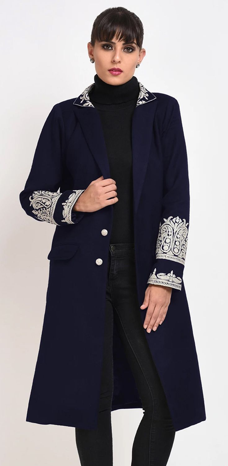 Navy Blue Kashmir Inspired Tilla Embroidered Pure Wool ...