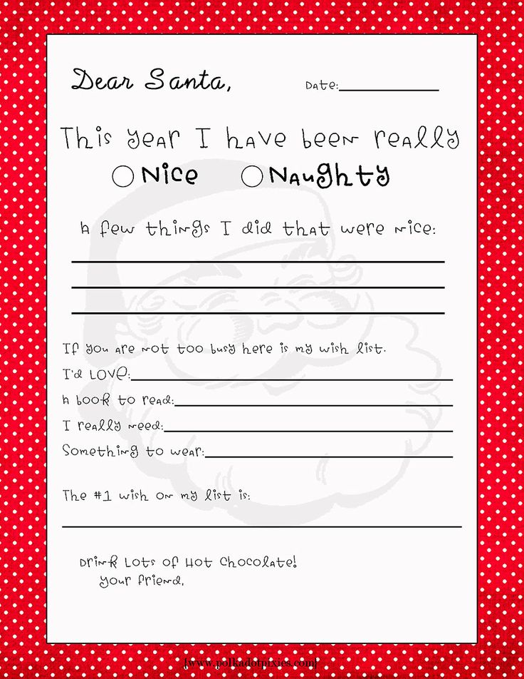 25 best ideas about Letter from santa template – Christmas Wishlist Template