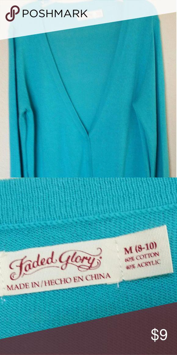 Faded Glory, beautiful turquoise cardigan Beautiful turquoise v neck cardigan Faded Glory Sweaters Cardigans