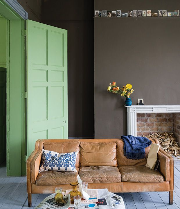 "Farrow & Ball, Salon Drab No. 290: This ""drab"" hue typical of the 19th century is all at once dark, warm and inviting."
