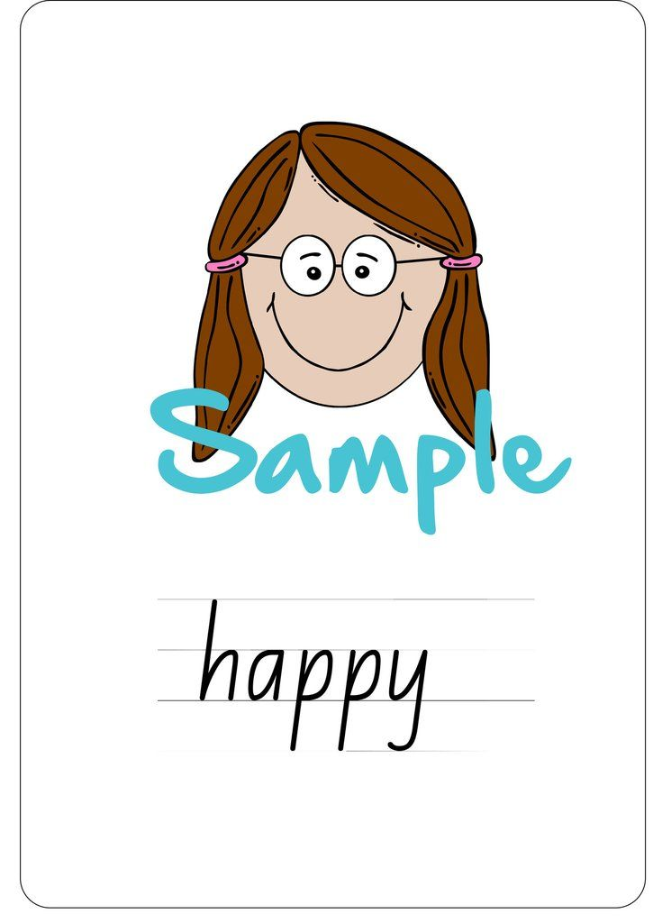 Set of 6 A4 printable wall cards and twelve sight word cards. Includes  Happy Sad Excited Surprised Worried Angry