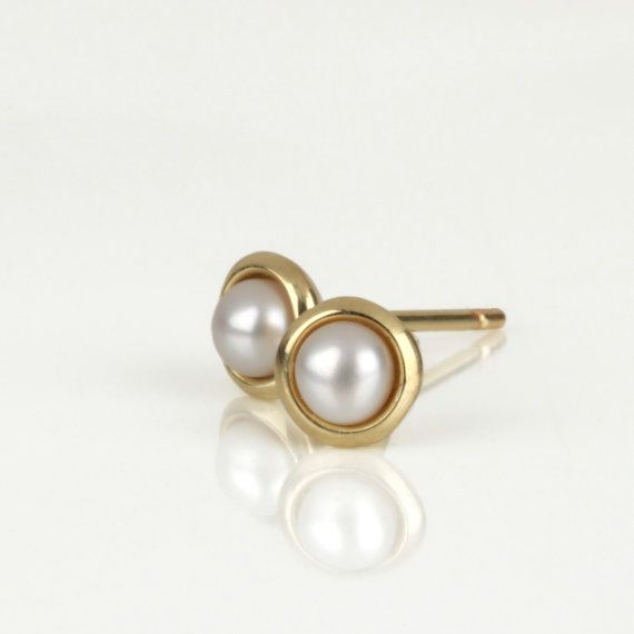 Small pearl earrings gold pearl earrings pearl stud by SigalGerson