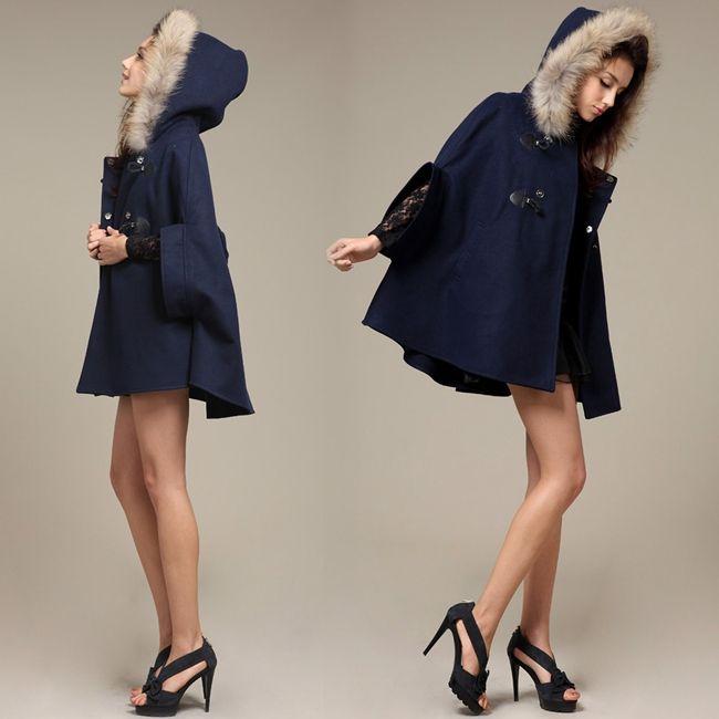 Winter Poncho Coats 2015 New Ladies Women Fur  Bat Sleeve Cape Coat Hooded Cloak and Jacket Pocket Outerwear