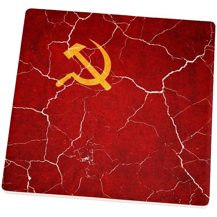 Distressed Soviet Union Flag Set of 4 Square Sandstone Coasters