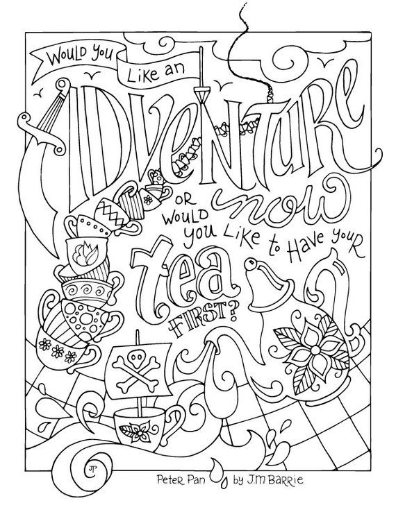 Peter Pan Coloring Page Jm Barrie Quotes Adventure Etsy Peter Pan Coloring Pages Quote Coloring Pages Coloring Pages