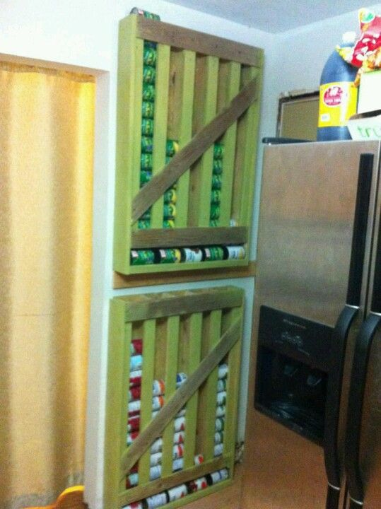 Pallet turned into can storage! I think I am going to put this in my basement so we can stock up! Could also store pop cans or beer cans too!