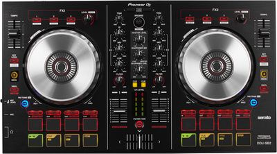 Pioneer DDJ SB2, 2-channel performance DJ controller/mixer packaged with Serato DJ Intro software, 4 performance pads for Hot Cue, Auto thomann Loop, Manual Loop and Sampler, Large jog wheels for precise scratching and mixing capabilities, USB Powered with built-in sound card, RCA Audio Output, 487,0 x 271,2 x 58,5 mm