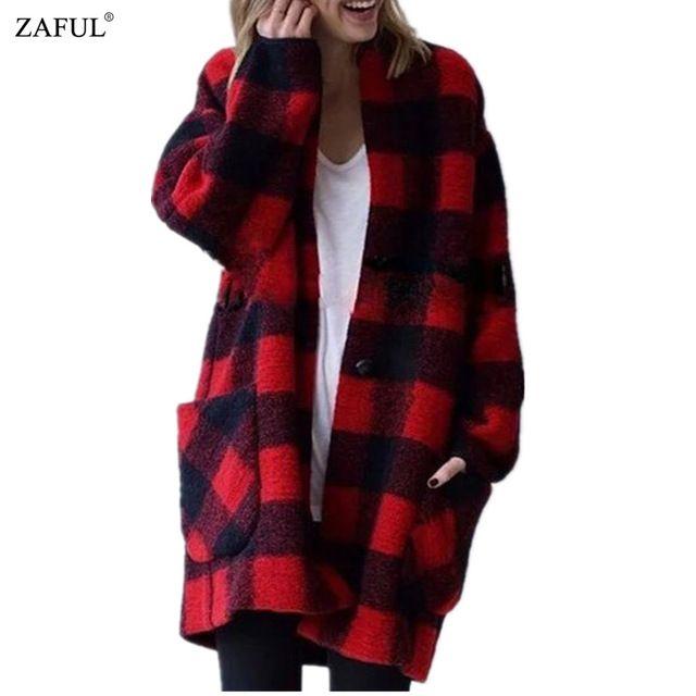 ZAFUL 2016 Mensyaz Ceketler ve Mont Vintage Kırmızı ve siyah Ekose Sıcak Palto Bayanlar Dış Giyim Uzun Yün Ceket Yün Casaco