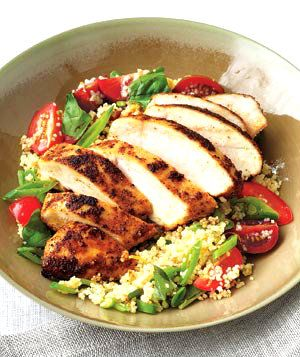 Healthy Eating Tip: Spiced Chicken With Couscous Salad - http://www.realsimple.com/food-recipes/browse-all-recipes/spiced-chicken-couscous-salad-recipe-00000000034246/index.html