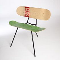 This seat is made from two old skateboards, but the SAME could be done from snowboards too