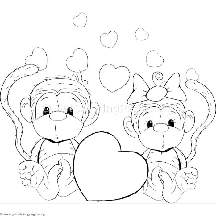 Cartoon Animal Romantic Couple in Love Cute Monkeys ...