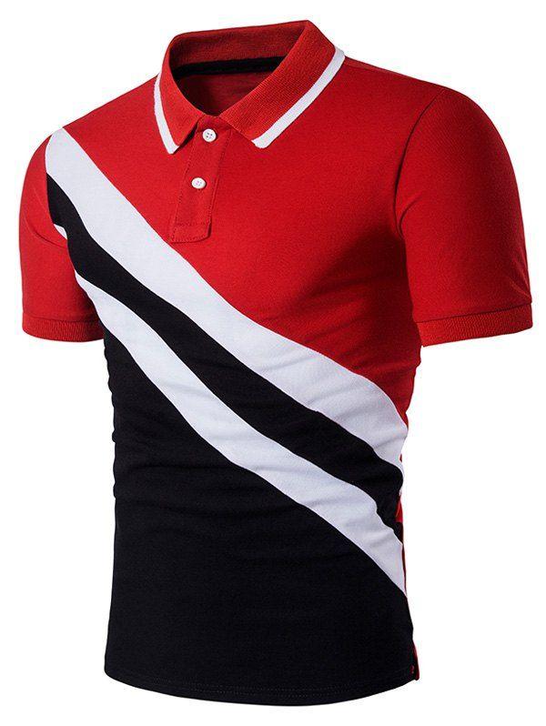 Oblique Stripe Panel Color Block Polo T-Shirt - RED XL