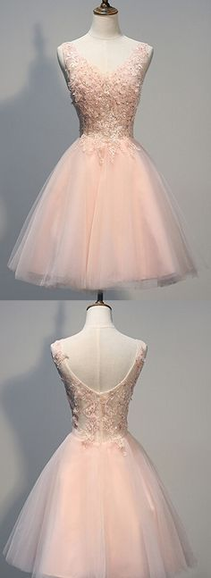 Charming Homecoming Dress,Blush Pink homecoming dresses.Lace prom dresses…