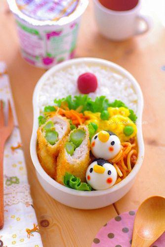 cuteobento: quail egg penguin bento