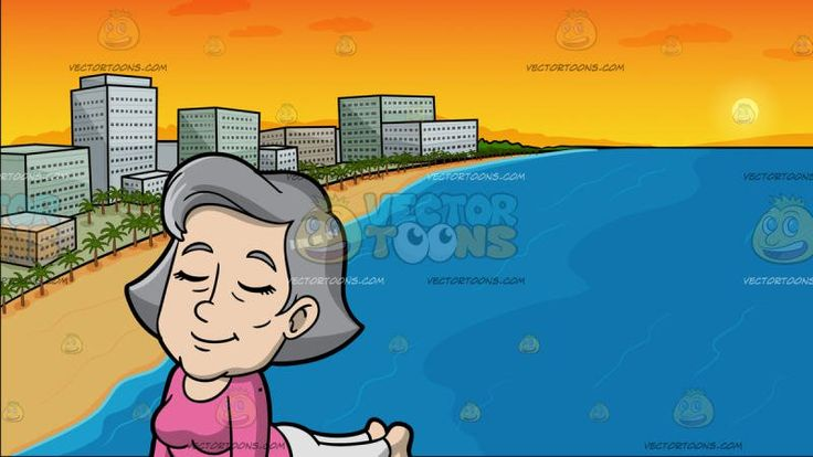 A Mature Woman Doing A Cobra Pose At A Beach Lined With Hotels At Sunset:  A mature woman with gray hair wearing a pink sweatshirt light gray pants closes her eyes and smiles in concentration while lifting her upper body up with the help of her two arms palms and toes flat on the floor legs stretched back on a blue mat to do a cobra pose. Set in view of the beach during sunset with blue waters orange skies fine golden sand green palm trees and a row of hotels .