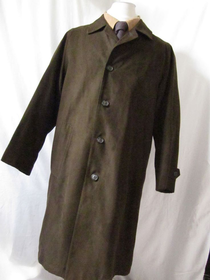 Coat 38 R Macmor Zip Liner Wool Faux Suede Overcoat Long 5 buttons brown mens - eBay Seller Username janna!