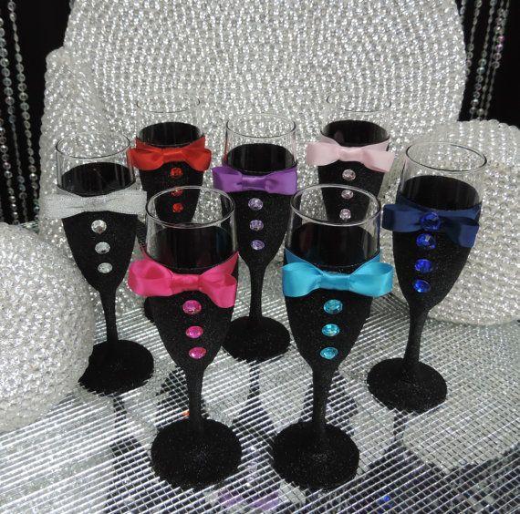 Brillo negro esmoquin vino/champán flauta cristal por LuxxCouture